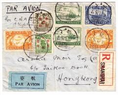 China Flugpost R-Brief 4.11.1925 Schanghai (1936)gesendet Nach Hong-Kong - Chine