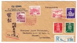 Japan Flugpost R-Brief Yokohama 27.6.1938 Nach Kaunas Litauen - Luftpost