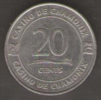 CASINO TOKEN CHAMONIX 20 CENTS - Casino