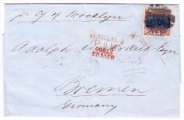 USA 1869 15Cent Landung Des Columbus Auf Brief Umschlag Nach Bremen Transit Verviers-Coeln - 1847-99 General Issues