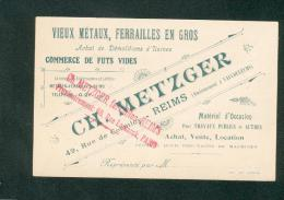 Carte Ch. Metzger Ferrailleur Ferrailles Metaux Demolition Usine Commerce Futs Vides Reims Paris Vaucouleurs - Pubblicitari