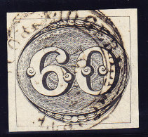 Brasilien 1843 Scott #2b 60 R. Grau-schwarz Gestempelt In Rio De Janeiro - Brésil