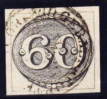 Brasilien 1843 Scott #2b 60 R. Grau-schwarz Gestempelt In Rio De Janeiro - Oblitérés