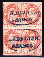 "Kolumbien - Scott#42 - 1865 - 1 Peso Vermillon In 4er-Block Gestempelt ""Medellin Franca"" - Colombie"