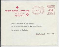 CROIX-ROUGE - 1962 - ENVELOPPE Avec EMA De PARIS Pour GENEVE - Marcofilia (sobres)
