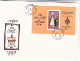 1977  ANTIGUA FDC MINIATURE SHEET  5.00  Royal SILVER JUBILEE Stamps Cover Royalty Emblem Heraldic Lion - Antigua & Barbuda (...-1981)