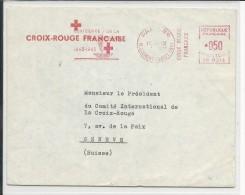 CROIX-ROUGE - 1963 - ENVELOPPE Avec EMA CENTENAIRE De La CR De PARIS Pour GENEVE - Marcophilie (Lettres)