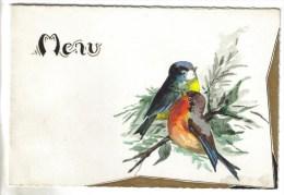 2 MENUS VIERGES PERSONNALISES - Oiseaux Rouge Gorge - Menus