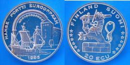 FINLANDIA 20 E 1996 ARGENTO PROOF HANSE PORTTI EUROOPPAAN SUOMI RARA PESO 27g TITOLO 0,925 CONSERVAZIONE FONDO SPECCHIO - Finlandia