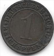 1 PFENNIG Bronze 1929 A - [ 3] 1918-1933 : Weimar Republic