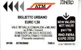 Italy , Milano   , Metro  Ticket  , 2015 - Subway