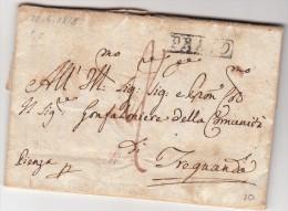 Prefilatelica Da Prato A Trequanda Con Contenuto 26 Giugno 1818 AL RETRO BOLLO Siena In Rosso. - 1. ...-1850 Prefilatelia