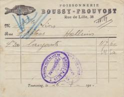 1926: Facture De ## Poissonnerie BOUSSY-PROUVOST, Tourcoing ## à Mlle Lion, Halluin. - POISSON, - Food