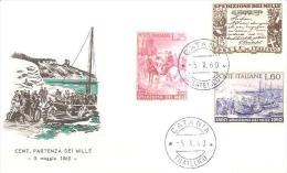 68245) FDC Cent. Partenza Dei Mille 5-5-1960 - 6. 1946-.. Repubblica