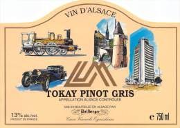 """03427 """"CAVE VINICOLE EQUISHEIM - TOKAY PINOT GRIS"""". ORIGINAL LABEL WITH TRAIN . ETICHETTA ORIGINALE CON TRENO. - Treni"""