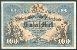 Deutschland, Germany, Württembergische Notenbank - 100 Mark,  ( Ro.: WTB 10 B ) 1911 ! - [ 2] 1871-1918 : Duitse Rijk