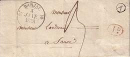 GARD - BARJAC - T12 DU 5-1-1838 - BOITE RURALE A DE ST JEAN DE MARVEJOLS + DECIME ROUGE - AVEC TEXTE.. - 1801-1848: Voorlopers XIX