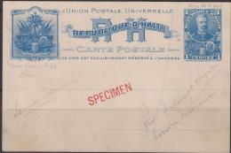 "O) 1898 HAITI, POSTAL STATIONARY 1 C 'SIMON SAM"" STATIONARY CARD HIGGINS NO 1 PROOF WITH SPECIMEN OVERPRINT IN RED AND V - Haiti"