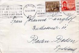 1949 Brief OSLO - BADEN-BADEN, 2 Sondermarken Werbestempel - Norwegen