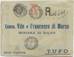 1925 MICHETTI C. 20 + FLOREALE L. 1 BUSTA RACC. VALLO DELLA LUCANIA A MINIERA ZOLFO DI TUFO (AVELLINO) TRANSITO NAPOLI - 1900-44 Victor Emmanuel III