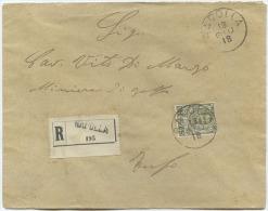 1918 FLOREALE C. 45 ISOLATO BUSTA RACCOMANDATA 13.18 RAPOLLA A TUFO (AVELLINO) TIMBRO ARRIVO E OTTIMA QUALITÀ (A557) - Storia Postale