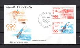 """WALLIS ET FUTUNA 1988 : Enveloppe 1er Jour """" JO DE SEOUL / MATA - UTU Le 01-09-1988 """" N° YT 379 + 380 . Parf état.FDC"""