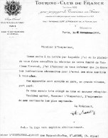 55Nj 14 Courrier Touring Club De France à L'inspecteur Des Eaux Et Forets De Saint André (04) En 1908 - Manuscripts