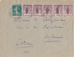 14578# ORPHELIN N° 148 BANDE DE 5 LETTRE Obl PARIS BD MALESHERBES 1919 AJACCIO CORSE - Marcophilie (Lettres)