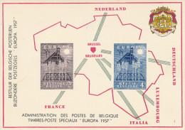413/23 - EUROPA Belgique 1957 - Petit Feuillet Spécial Des Postes Belges - Etat NEUF - Europa-CEPT