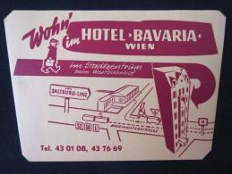HOTEL MAP GASTHOF BAVARIA WIEN VIENNE VIENNA AUSTRIA OSTERREICH DECAL STICKER LUGGAGE LABEL ETIQUETTE AUFKLEBER - Hotel Labels