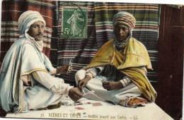 SCENES & TYPES Arabes jouant aux cartes coloris�e   Recto verso