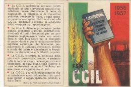 3-4230-  Tessera CGIL 1956 1957 Con Bollini - Organizzazioni
