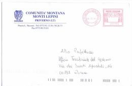 COMUNE DI PRIVERNO - 04015 PROV. LATINA - ANNO 2011 - LS/AMR - FTO 12x18 - TEMA TOPIC COMUNI D´ITALIA - STORIA POSTALE - Affrancature Meccaniche Rosse (EMA)