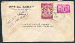 1942 Dominicana Optica Godoy, Santiago Airmail Censor Cover - American Optical Company, Southbridge, Mass.USA - Dominican Republic