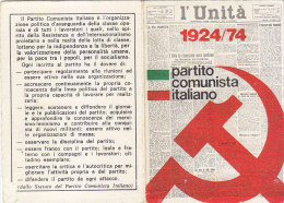 3-4239- Tessera Partito Comunista 1974 Con Bollino Da Lire 10.000 - Organizzazioni