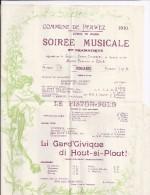 Soirée Musicale Et Dramatique Commune De Perwez  Le Piston-Solo 1910 - Faire-part