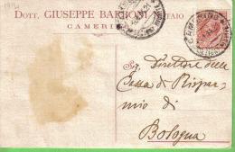 DOTT. GIUSEPPE BARBONI NOTAIO CAMERINO VIAGGIATA 1914 - Publicité