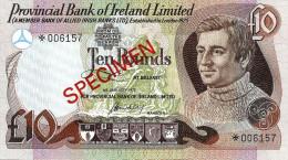UNITED KINGDOM N.IRELAND 10 POUND PURPLE MAN FRONT& SHIP BACK O/P SPECIMEN DATED 01-01-1977 PNE18a READ DESCRIPTION !! - [ 2] Ireland-Northern
