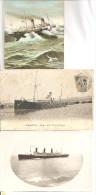 13 - MARDEILLE  - Lot De 3 Cartes - Transatlantiques   Au Départ, Par Grosse Mer, Carte-photo - Guerra