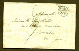 LETTRE PRECURSEUR- TAXE A LA PLUME BLEUE 3 DECIMES + TAMPON BLEU TYPE A DE 1820- TAMPON D'ARRIVÉ 1833 SIMPLE FLEURON - 1801-1848: Precursors XIX