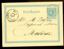 HANDGESCHREVEN BRIEFKAART Uit 1874 Van AMSTERDAM Naar MALINES * VOORDRUK *  (9806a) - Postwaardestukken