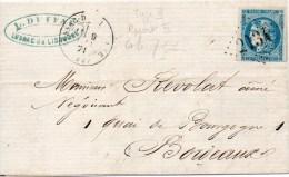N° 45B Type 2 Report 2 Sur Lettre De LUSSAC De LIBOURNE Gros Chiff. 2134 - 1870 Bordeaux Printing