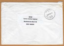 Enveloppe Cover Brief Namur X à SNCB Namur - Bélgica