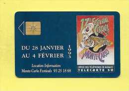 S02 50U TELECARTE MONACO 17 Festival Du Cirque Utilisée (Affiche Pierre Silvy) 100 000 - Monaco