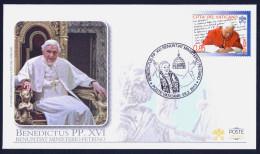"""2013 VATICANO """"RENUNTIAT MINISTERIO PETRINO - BENEDETTO XVI"""" FDC RICORDO POSTE VATICANE - FDC"""