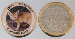 Libye 4 Dinars 2015 Bimetal + Couleurs Animal Fennec - Libye