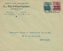 418/23 - Allumettes Belgique - Enveloppe TP Germania Etappen Gent 1916 - Entete Byl Campen , Manufacture à GRAMMONT - Fabrieken En Industrieën