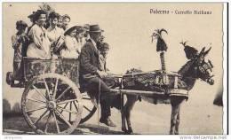 ITALIE SICILE SICILIA PALERMO CARRETTO SICILIANO.TYPES FOLKLORE COSTUMES ET GROS PLAN D´UN ATTELAGE CPA BON  ETAT - Palermo