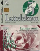 LATVIA PHONECARD 5th ANNIVERSARY LATTELEKOM  1/99,D-018-10000pcs-USED - Latvia