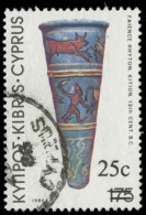 Cyprus Scott #610, 25¢ On 175m Multicolored (1983) Archaeological Find, Used - Cyprus (Republic)
